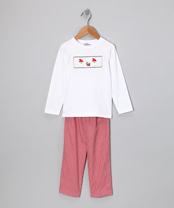 White Santa Tee & Red Pants - Infant