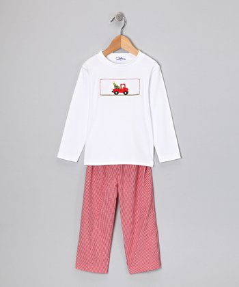 White Truck Tee & Red Pants - Infant