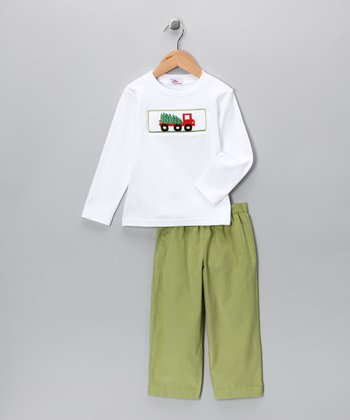 White Tree Truck Tee & Green Corduroy Pants - Infant & Toddler