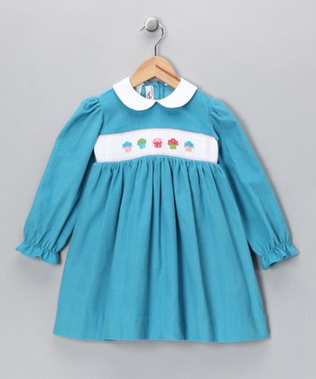 Turquoise Cupcake Corduroy Dress - Infant & Toddler