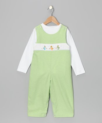 White Tee & Green Snowman Overalls - Toddler