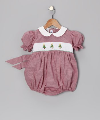 Burgundy Christmas Tree Bubble Bodysuit - Infant