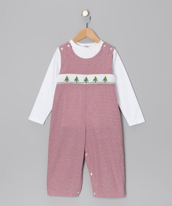 White Tee & Burgundy Christmas Tree Overalls - Toddler