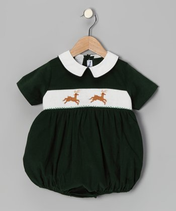 Green Reindeer Bubble Bodysuit - Infant