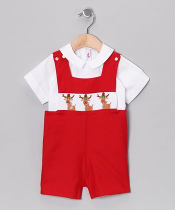 White Top & Red Rudolph John Johns - Infant & Toddler