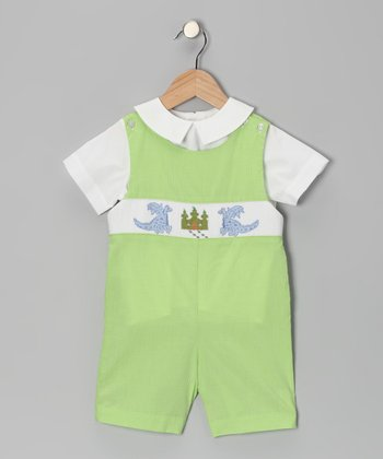 White Top & Light Green Dragon Shortalls - Infant & Toddler