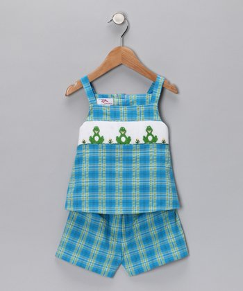 Turquoise Frog Smocked Top & Shorts - Kids