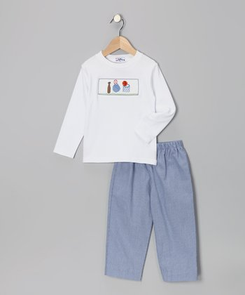 White Sport Tee & Blue Pants - Infant
