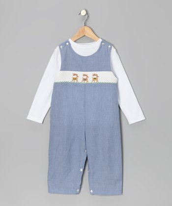 White Tee & Blue Reindeer Overalls - Toddler