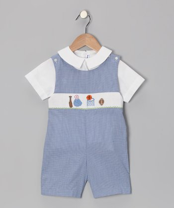 White Top & Blue Sport Shortalls - Infant & Toddler