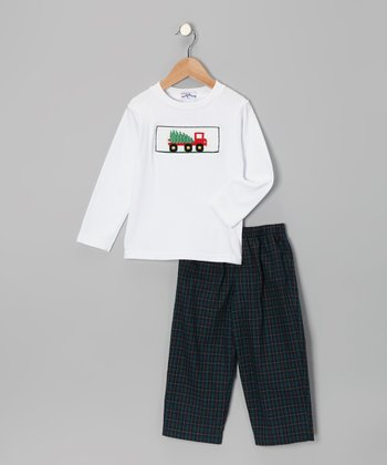 White Bringing the Tree Tee & Plaid Pants - Infant & Toddler