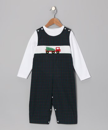 White Tee & Blue Bringing the Tree Overalls - Infant & Toddler