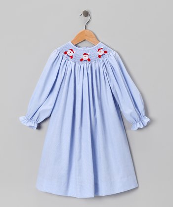 Blue Santa Claus Bishop Dress - Infant & Toddler