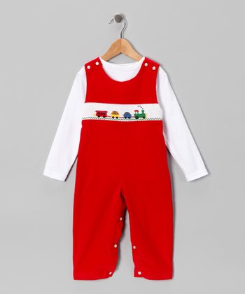 White Tee & Red Transportation Overalls - Toddler