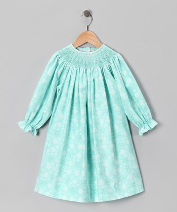 Aqua Snowflake Bishop Dress - Infant & Toddler