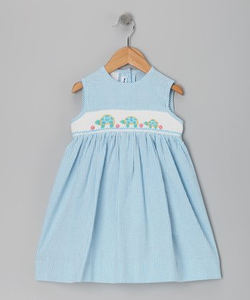 Blue Turtle Smocked Seersucker Dress - Girls