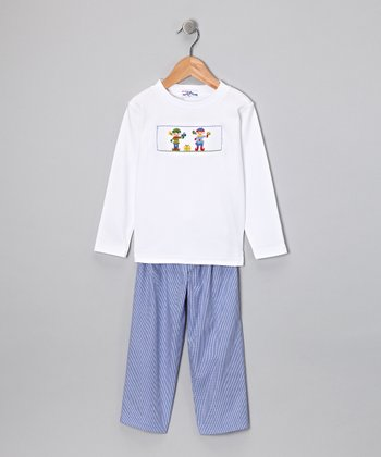 White Elf Tee & Blue Pants - Infant