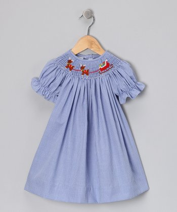 Blue Sleigh Bishop Dress - Girls