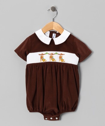 Brown Monkey Bubble Bodysuit - Infant
