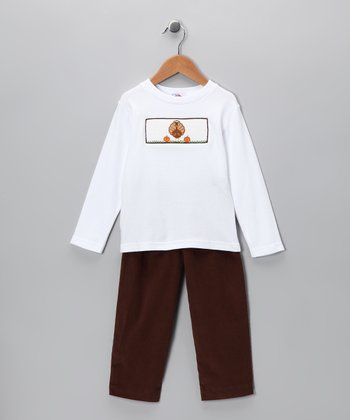 White Turkey Tee & Brown Corduroy Pants - Infant