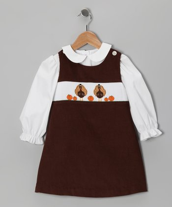 White Top & Brown Turkey Jumper - Infant & Girls