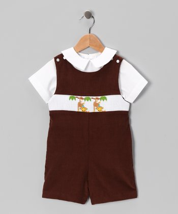 White Top & Brown Monkey Shortalls - Infant & Toddler