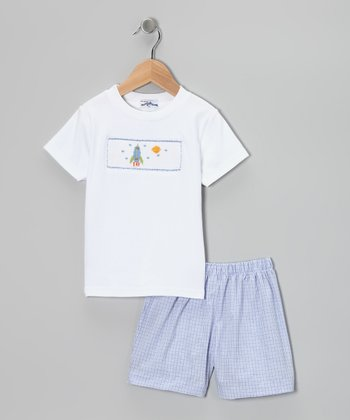 White Spaceship Smocked Tee & Blue Shorts - Infant