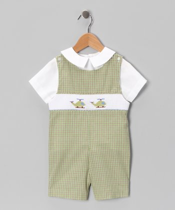 White Top & Green Helicopter Shortalls - Infant & Toddler
