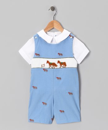 White Top & Blue Horse Shortalls - Toddler