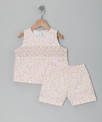 Pink Floral Smocked Brooke Top & Shorts - Infant