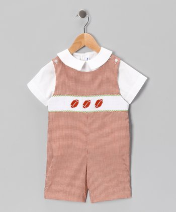 White Top & Orange Football Shortalls - Infant & Toddler