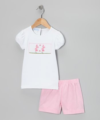 White Poodle Smocked Tee & Pink Shorts - Infant