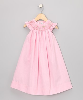 Pink Beach Smocked Angel-Sleeve Dress - Girls