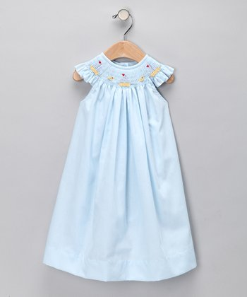 Baby Blue Sailboat Angel-Sleeve Dress - Infant & Toddler
