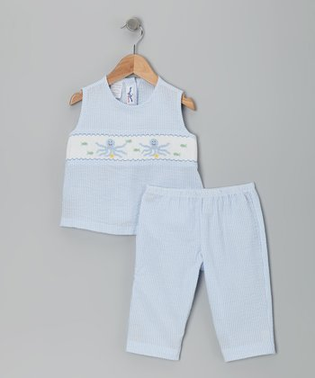 Blue Octopus Smocked Seersucker Top & Capri Pants - Girls