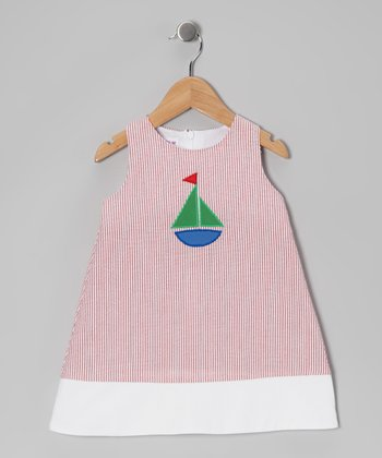 Red Stripe Seersucker Sailboat Jumper - Girls