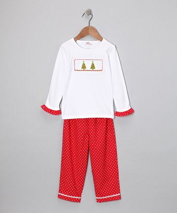 White Christmas Tree Ruffle Tee & Red Pants - Infant