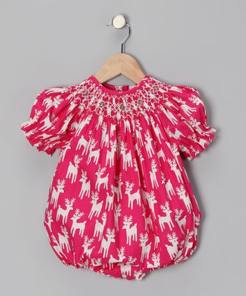Hot Pink Reindeer Smocked Bodysuit - Infant