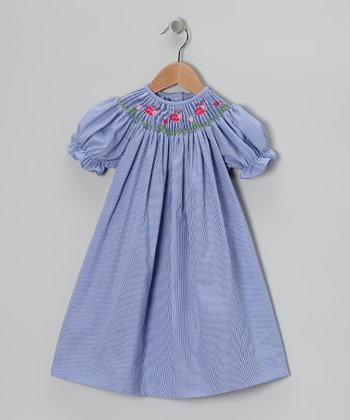 Denim Blue Ladybug Bishop Dress - Infant, Toddler & Girls