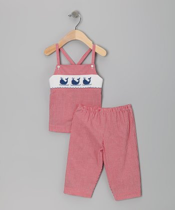 Red Gingham Whale Smocked Tank & Capri Pants - Girls