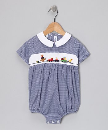 Navy Blue Bear Train Bubble Bodysuit - Infant