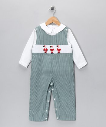 White Top & Green Santa Overalls - Infant & Toddler