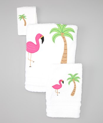 White Flamingo Towel Set