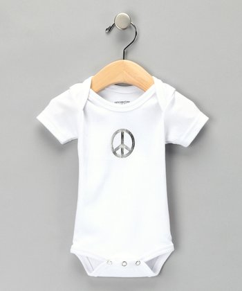 White Peace Sign Bodysuit - Infant