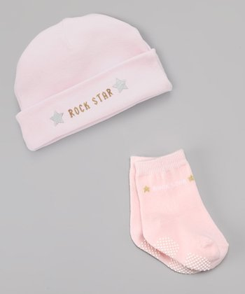 Pink 'Rock Star' Beanie & Socks