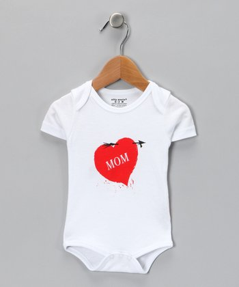 White 'Mom' Heart Bodysuit