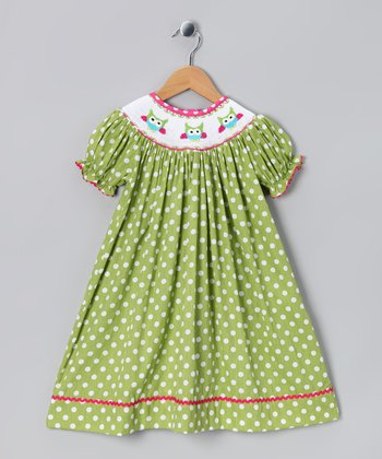 Green & White Owl Polka Dot Smocked Dress - Infant & Toddler
