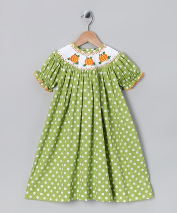 Green & White Pumpkin Polka Dot Smocked Dress - Infant & Toddler