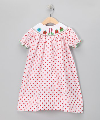 Red & Green Presents Bishop Dress - Infant, Toddler & Girls