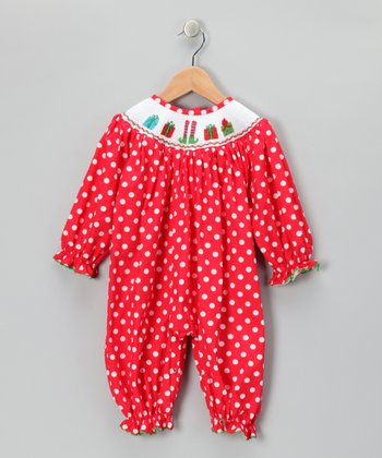 Red Polka Dot Presents Smocked Playsuit - Infant, Toddler & Girls